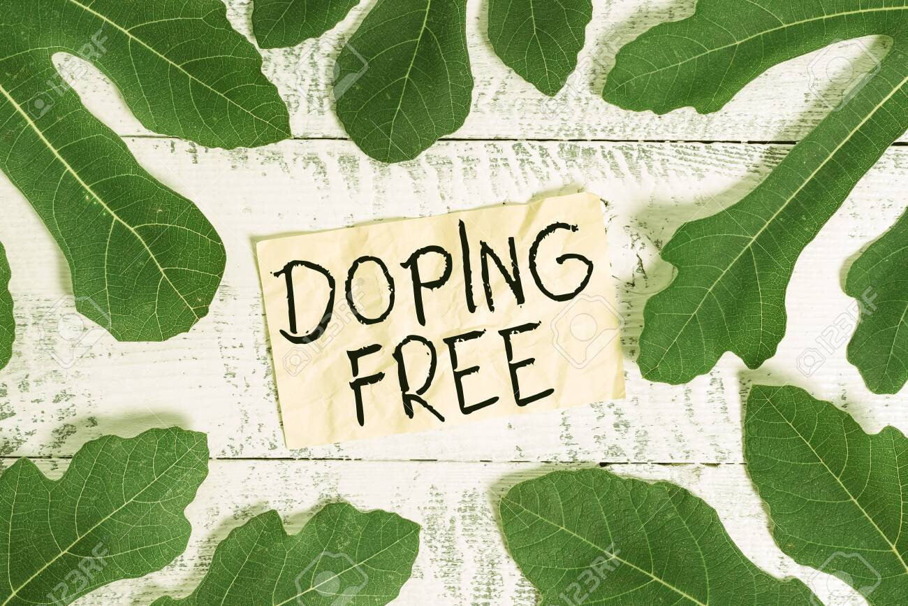 133738667 conceptual hand writing showing doping free concept meaning proven not using any substance to illega